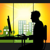 City Office Indicates Web Site And Adult Royalty Free Stock Images