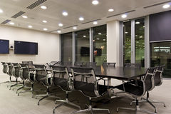 City office meeting room at night Royalty Free Stock Photo