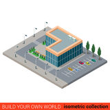 City office parking glass mall flat 3d isometric  building Stock Image