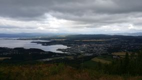 The City og Steinkjer. Looking down on the city of Steinkjer from the hill Ofsenåsen Stock Photography