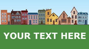 City of old houses. Illustration with houses in a row. Place for the text. The old city by day. Royalty Free Stock Photography