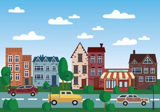 City of old houses. Illustration with houses in a row. Place for the text. The old city by day. Royalty Free Stock Image