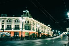 City Omsk, Lenin Street. At night, the city of Omsk blooming with new colors royalty free stock photos