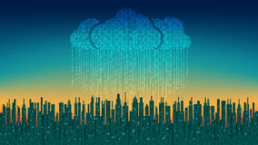 The city online. Abstract futuristic digital city, binary rain, cloud connected, high-tech background Stock Images