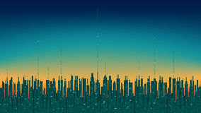 City online. Abstract futuristic digital city, hi-tech information background. High-tech computer colourful digital technology concept Royalty Free Stock Photo