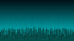 City online. Abstract futuristic digital city, hi-tech information background Stock Images