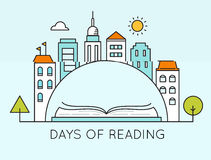 City and Open Book. Days of Reading Sign. Literature and Library Days Vector Illustration or Poster Template Stock Image