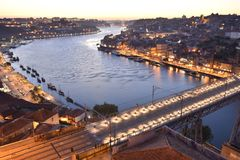 City of Oporto at dusk Portugal Europe royalty free stock photo