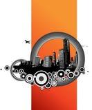 City with orange stripe. Vector Royalty Free Stock Photo