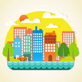 City origami. The building of a paper origami, Papercraft panorama town, Paper-art, illustration Vector Royalty Free Stock Photography