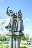 City Oryol. Sculptures of personages of the writer Nikolai Leskov royalty free stock photos