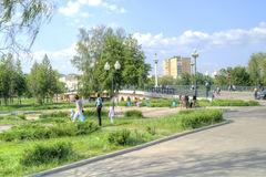 City Oryol. Square writer Nikolai Leskov Stock Photo
