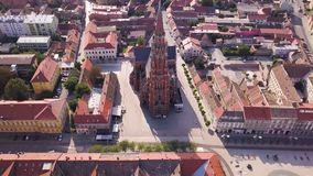 City of Osijek Cathedral from the sky. City of Osijek cathedral. Aerial shot stock video footage