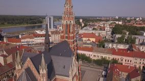 City of Osijek Cathedral from the sky. City of Osijek cathedral. Aerial shot stock video