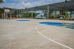 City outdoor basketball court - urban sports field.  Royalty Free Stock Images