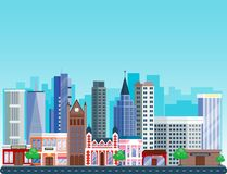 City outdoor day landscape house and street buildings outdoor cityspace disign vector illustration modern flat. Vector city with cartoon houses and buildings Stock Image