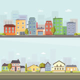 City outdoor day landscape house and street buildings outdoor cityspace disign vector illustration modern flat. Vector city with cartoon houses and buildings Royalty Free Stock Photos