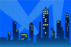 City Outline. Outline of a city with fading lights royalty free illustration