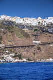 City ??over the sea of Santorini in Greece Royalty Free Stock Images