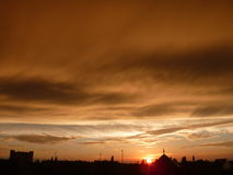 city over sunset Στοκ Εικόνα