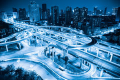 City overpass closeup. In chengdu at night , blue flyover or viaduct Royalty Free Stock Image