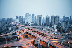 City overpass at dusk. Road junction of urban expressway background in chengdu Royalty Free Stock Photo
