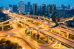 City overpass at night. Flyover or viaduct in chengdu Royalty Free Stock Images