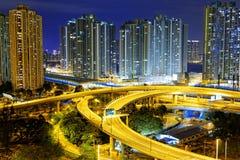 City overpass at night, HongKong Royalty Free Stock Photos