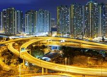 City overpass at night, HongKong Stock Photo