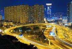 City overpass at night, HongKong Royalty Free Stock Photo