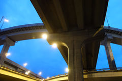 City overpass at night Royalty Free Stock Images