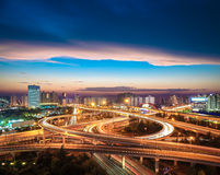 City overpass at nightfall Royalty Free Stock Images