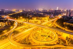 City overpass in tianjin at night. City overpass at night, traffic infrastructure closeup Royalty Free Stock Photos