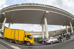 City overpasses , fisheye view. City overpasses and vehicles motion blur , fisheye view Royalty Free Stock Photos
