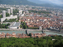 City overview. Overview of European city in a valley with river royalty free stock images