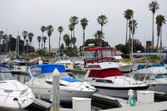 City of Oxnard Marina. Recreational and fishing boats at the dock in Oxnard marina, Ventura county, Southern California Pacific coast; copy space Stock Photos