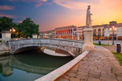 City of Padova, Italy. Cityscape image of Padova, Italy with Prato della Valle square during sunset stock photography