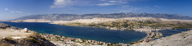 City of Pag, Croatia. Panorama of city of Pag, Croatia. Picture taken on the hill above the city Stock Images