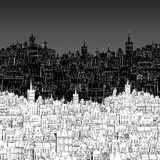 City, painted in black and white outline Royalty Free Stock Image