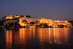 City Palace complex at night, Udaipur, India Royalty Free Stock Photos