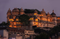 City Palace complex at night, Udaipur, India Stock Photography