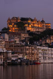 City Palace complex at night, Udaipur, India Royalty Free Stock Photo