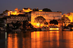 City Palace complex at night, Udaipur, India Royalty Free Stock Images