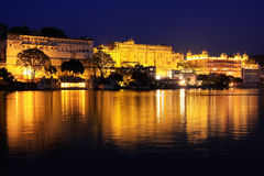 City Palace complex at night, Udaipur, India Stock Photos