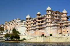 City Palace complex view from Lake Pichola. Udaipur. Rajasthan. India Stock Photo