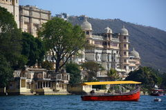 City Palace complex view from Lake Pichola. Udaipur. Rajasthan. India Stock Photos