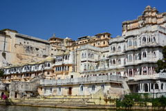 City Palace complex view from Lake Pichola. Udaipur. Rajasthan. India Stock Photography