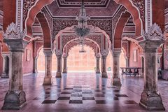 City palace in Jaipur, India. Architecture of the city palace in Jaipur stock photo