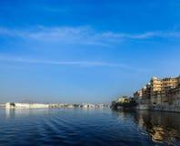 City Palace, Lake Palace and Lake Pichola. Udaipur, India Stock Image