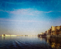 City Palace, Lake Palace and Lake Pichola. Udaipur, India Royalty Free Stock Images